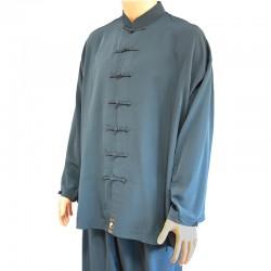 Veste soie mélangée gris bleu