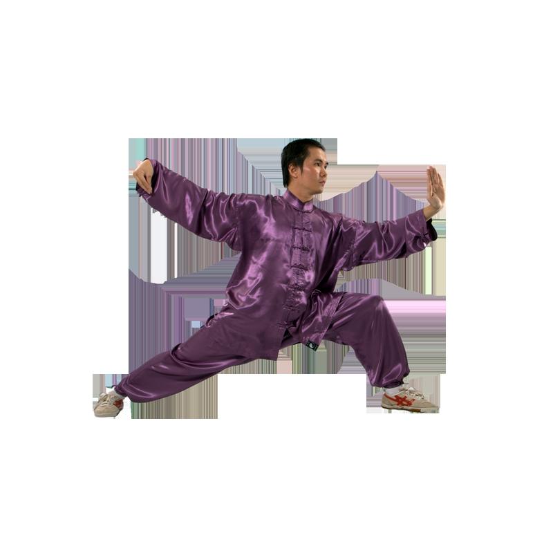 TENUE TAI CHI MAUVE en satin de soie